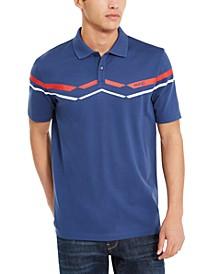 Men's Cotton Printed Stripe Polo Shirt