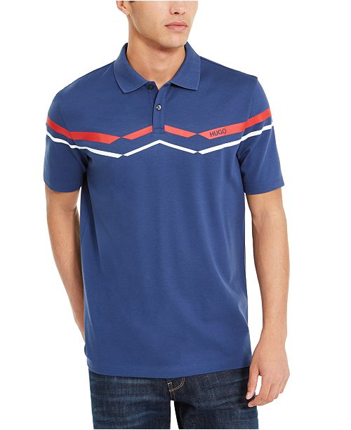HUGO Men's Cotton Printed Stripe Polo Shirt