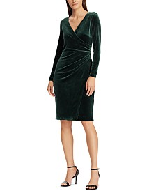 Lauren Ralph Lauren Velvet Surplice Dress
