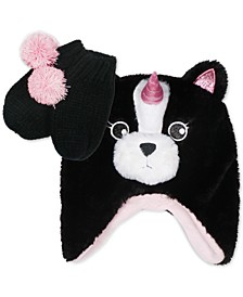 Toddler Girls 2-Pc. Faux-Fur Pugicorn Hat & Mittens Set
