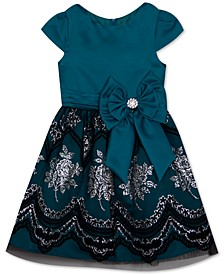 Toddler Girls Glitter-Print Bow Dress