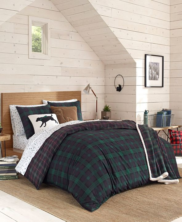 Eddie Bauer Woodland Tartan Green Comforter Set, Full/Queen