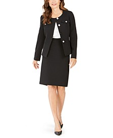 Petites 4-Button Slim Skirt Suit