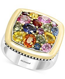 EFFY® Multi-Sapphire Cluster Ring (4-3/8 ct. t.w.) in Sterling Silver and 18k Gold
