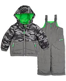 Toddler Boys 2-Pc. Colorblocked Camo-Print Jacket & Snowbib Snowsuit