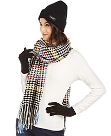 3-Pc. Hat, Gloves & Houndstooth Scarf Set