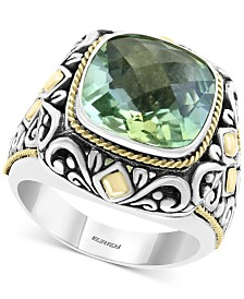EFFY® Green Quartz (5-9/10 ct. t.w.) Statement Ring in Sterling Silver & 18k Gold Over Sterling Silver