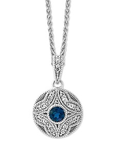 "EFFY® London Blue Topaz (5/8 ct. t.w.) & White Sapphire (1/3 ct. t.w.) 18"" Pendant Necklace in Sterling Silver"