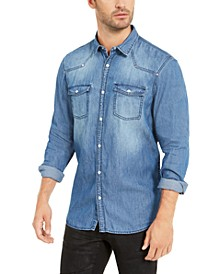 INC Men's Western Denim Shirt, Created For Macy's