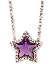 "EFFY® Amethyst (1 ct. t.w.) & Diamond (1/8 ct. t.w.) 16"" Pendant Necklace in 14k Rose Gold"