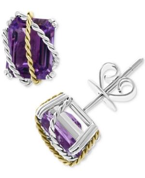 Effy Amethyst Stud Earrings (4 ct. t.w.) in Sterling Silver & 18k Gold