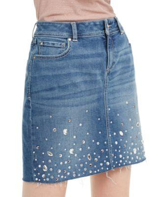 INC Embellished Denim Skirt, Created For Macy's