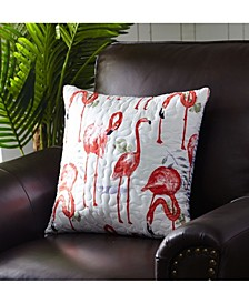 "Fancy Flamingo Quilted Pillow, 18"" x 18"""