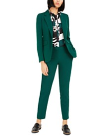 Bar III One-Button Blazer, Printed Blouse & Pants, Created For Macy's