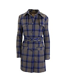 Plaid Wool Trench Coat