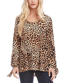 Leopard-Print Tie-Cuff Top