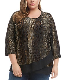 Plus Size Velvet Burnout-Print Top
