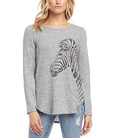 Zebra-Printed Graphic Sweater