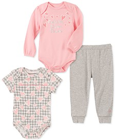 Calvin Klein Baby Girls 3-Pc. Heart Bodysuits & Jogger Pants Set