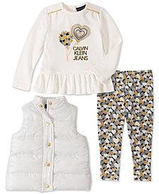Calvin Klein Baby Girls 3-Pc. Vest, Peplum Top & Heart-Print Leggings Set