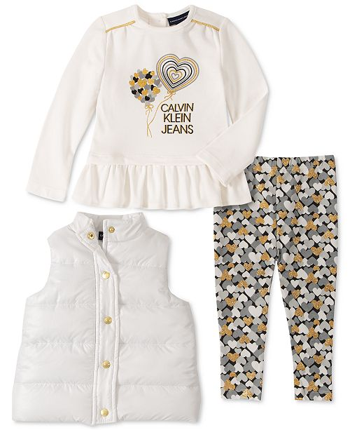 Calvin Klein Baby Girls 3-Pc. Vest, Peplum Top & Heart-Print Leggings Set