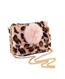 Area Stars Faux Fur Bag with Pom Pom Detail