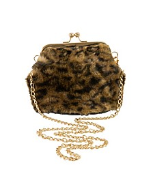 Area Stars Faux Fur Bag with Kiss Lock Closure and Chain Crossbody Strap