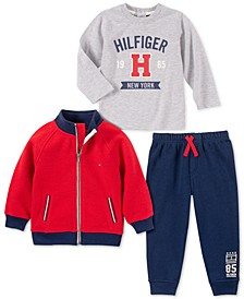Baby Boys 3-Pc. Fleece Jacket, T-Shirt & Pants Set