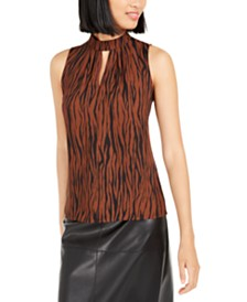 Bar III Animal Print Mock Neck Keyhole Top, Created For Macy's
