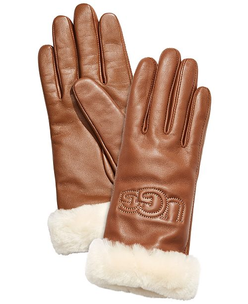 UGG® Classic Leather & Shearling Logo Gloves