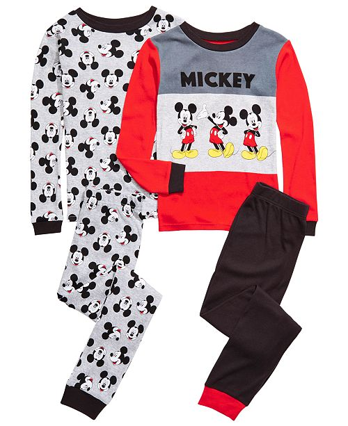 AME Little & Big Boys 4-Pc. Cotton Mickey Mouse Pajama Set