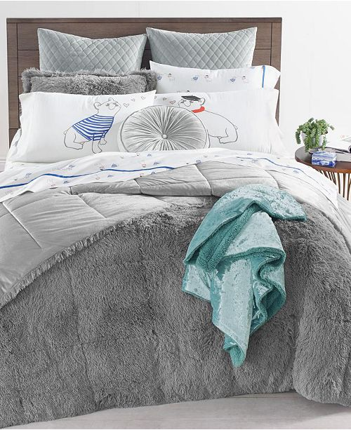 Martha Stewart Collection Shaggy Fur 3-Pc. Comforter Sets, Created for Macy's