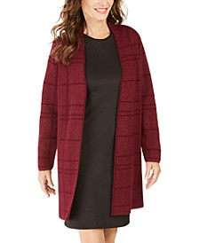 Tonal-Plaid Topper Cardigan