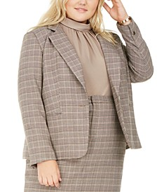 Plus Size One-Button Plaid Blazer, Created for Macy's