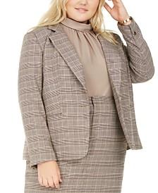 Bar III Plus Size One-Button Plaid Blazer, Created for Macy's