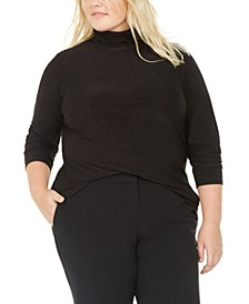 Trendy Plus Size Space-Dye Turtleneck Top, Created For Macy's