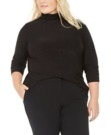 Bar III Plus Size Space-Dye Turtleneck Top, Created For Macy's