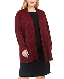 Plus Size Tonal Plaid Long Cardigan Sweater