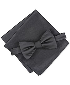 Men's Solid Textured Pre-Tied Bow Tie & Solid Textured Pocket Square Set, Created for Macy's