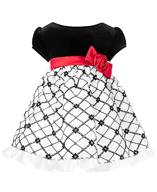 Bonnie Baby Baby Girls Velvet Flocked Organza Dress
