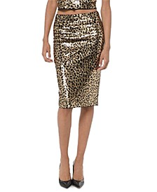 Sequined Animal-Print Skirt