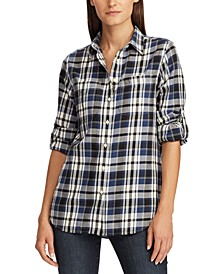 Plaid-Print Cotton Twill Roll-Tab Shirt, Regular & Petite Sizes