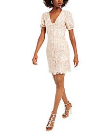 foxiedox Puff-Sleeve Tweed Sheath Dress