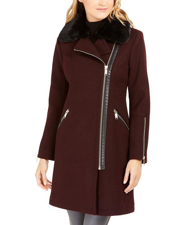 Michael Kors Faux-Fur-Trim Asymmetrical Coat