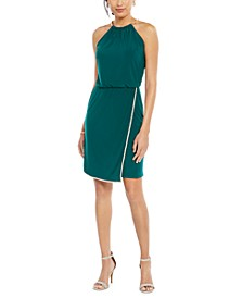 Rhinestone Blouson Halter Dress