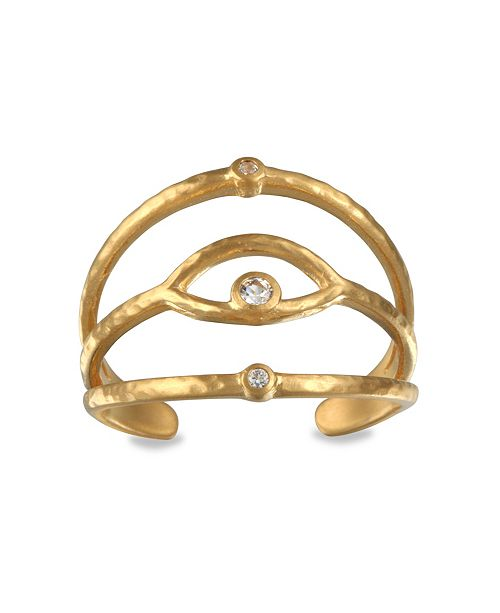 Satya Jewelry White Topaz Eye Adjustable Gold Ring