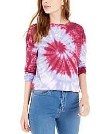Juniors' Tie-Dye Printed Long-Sleeved Cotton T-Shirt