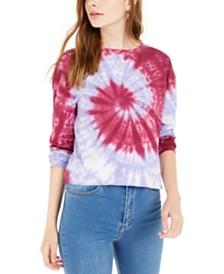 Rebellious One Juniors' Tie-Dye Printed Long-Sleeved T-Shirt