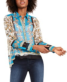 I.N.C. Scarf-Print Blouse, Created For Macy's