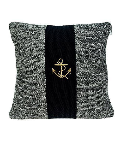 Parkland Collection Ahoy Nautical Blue Pillow Cover with Polyester Insert